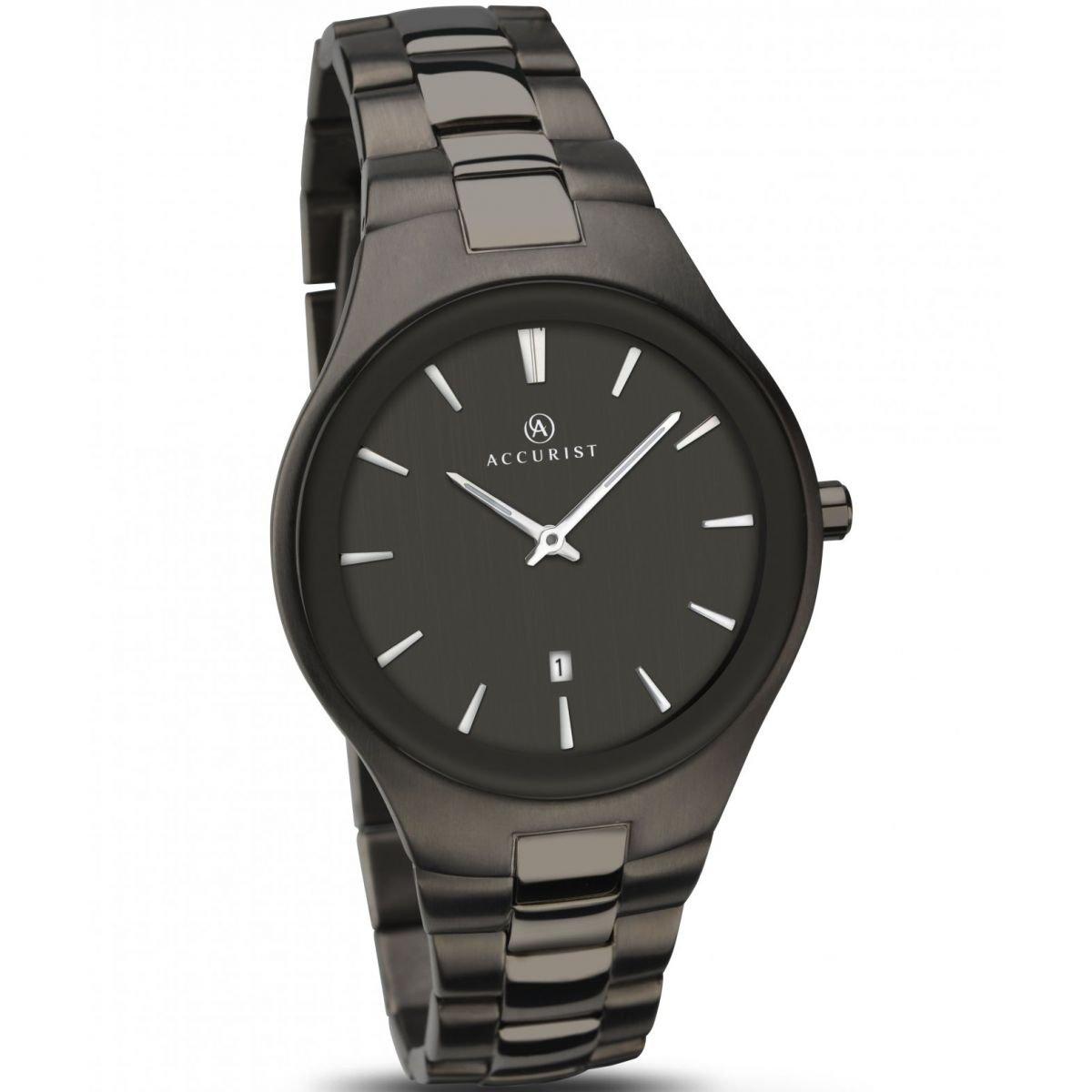 Accurist Mens Black Dial Black Bracelet Watch 7084 by Accurist