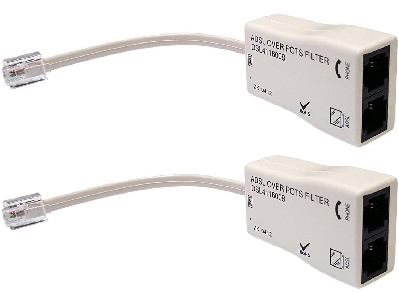 Amazon.com: iMBAPrice® (Pack of 2) In-line DSL Splitter w/ Noise ...