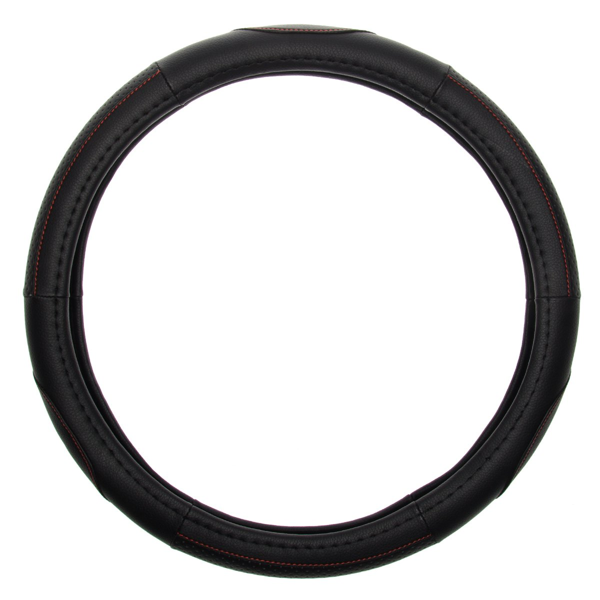 Power XT Faux Leather Steering Wheel Cover Easy Contour Grip Fits Cars Truck DIY Black Red Universal Fitted 15 Inch Auto