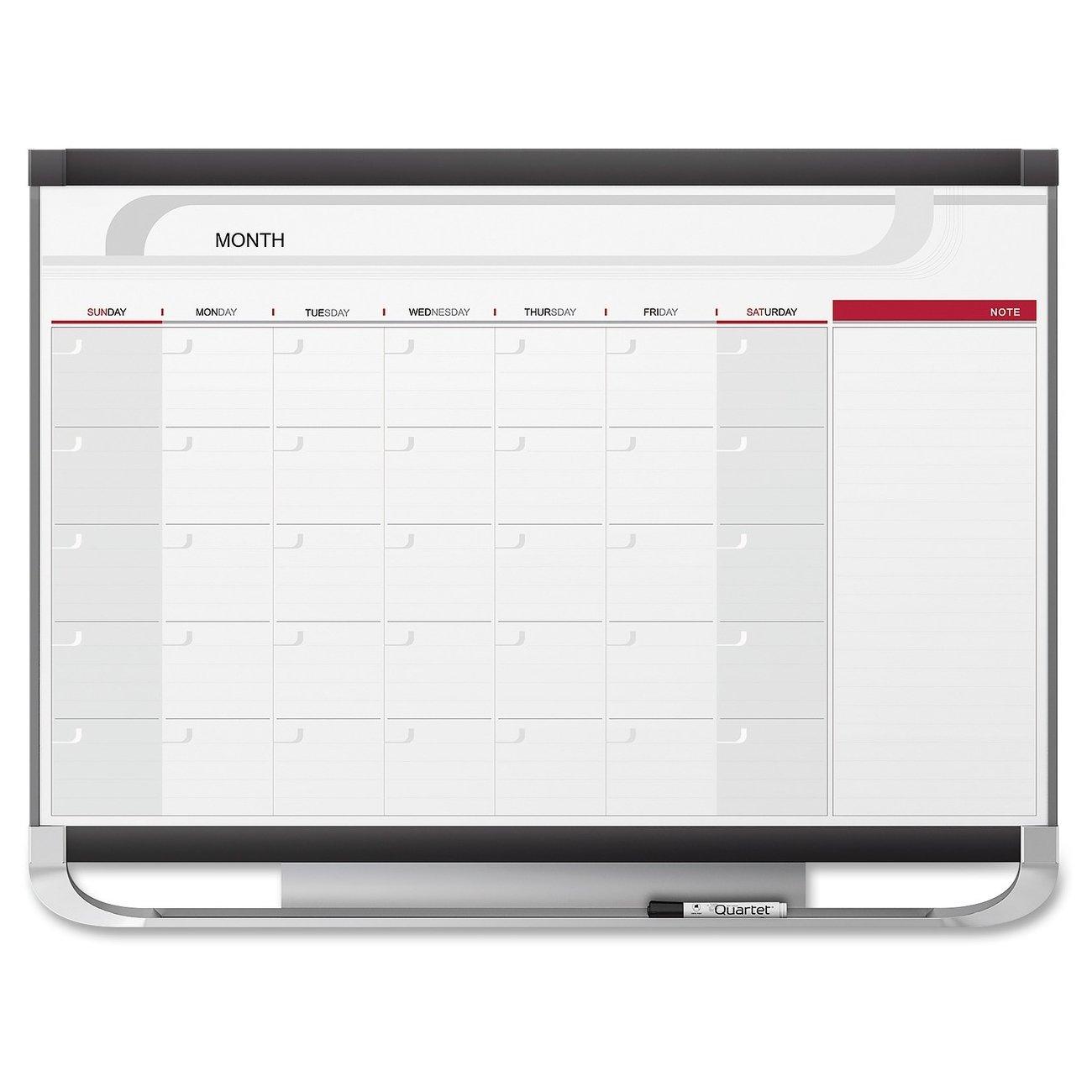 Quartet Prestige Total Erase Dry-Erase One-Month Calendar, 3 x 2 Feet, Graphite Frame (CP32)