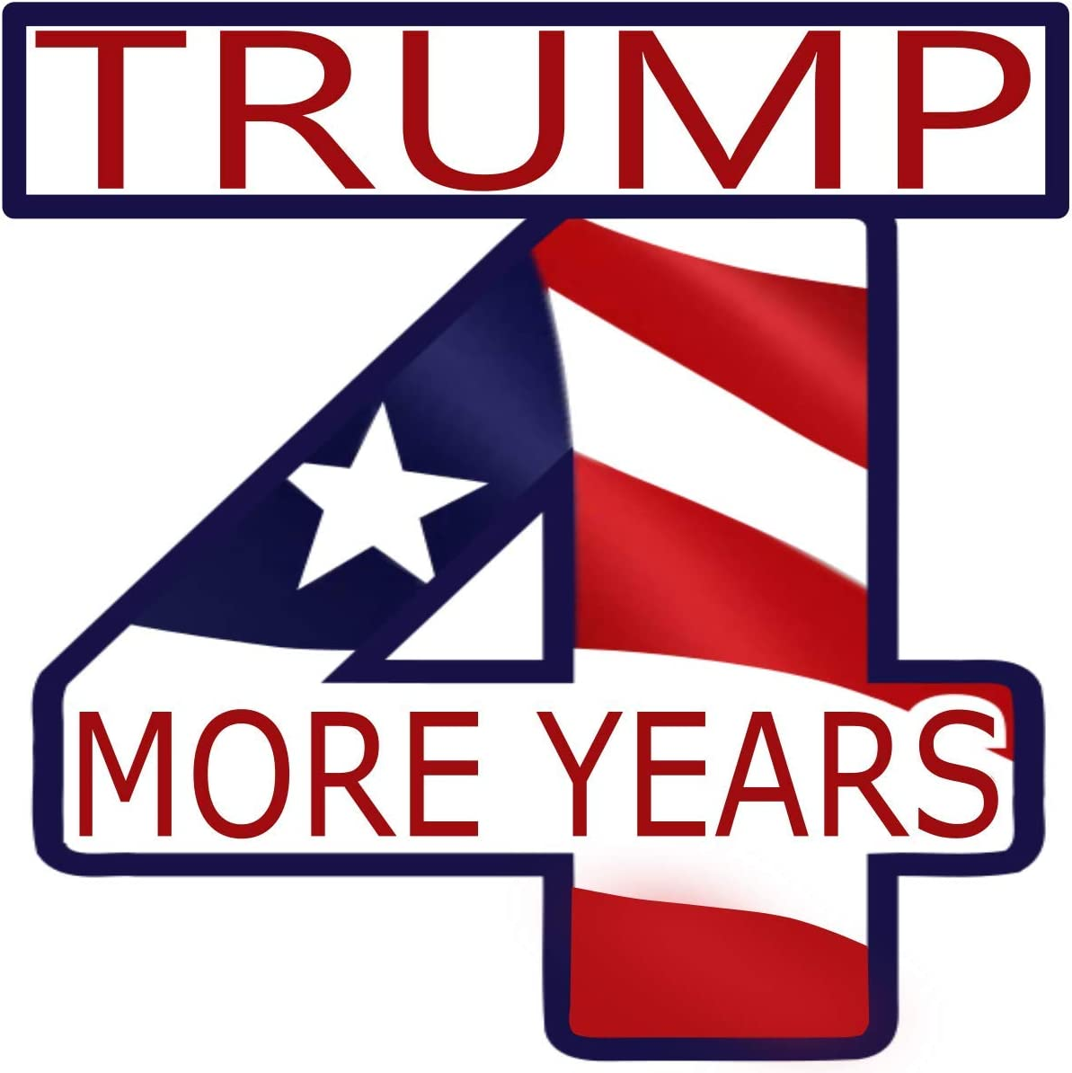3 X 3 inch Trump 4 More Years 2020 Election Bumper Sticker ~ Premium Vinyl American Flag Car Decal ~ Vote President Trump Four More Years ~ Promote Republican Votes ~ For Bumpers Laptops Bottles