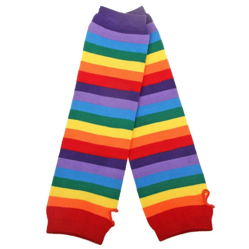 EDOTON Da donna Arcobaleno Banda Coscia al ginocchio Calze alte Braccio a maglia Pi/ù caldo senza dita Guanti Festa Costume Accessorio