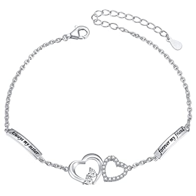 c3cbf25a1008a DAOCHONG Sterling Silver Sisters Necklace Always My Sister Forever My  Friend Heart Pendant Necklace Or Bracelet Or Ring Gift for Sister