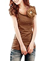 Allegra K Women Imitation Pearl Decor Ruched Sleeve Summer Top Casual T Shirts