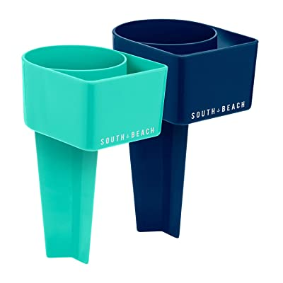 SOUTH BEACH Stick in Sand Drink Holders - Set of 2 - Perfect for The Beach - Includes Slot for Your Phone (Teal/Navy): Toys & Games