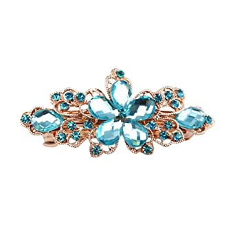 A Shiny Blue Barrette Hair Clip