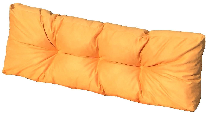 Cuscino Spalliera per bancale 120x42x10-18 cm - cuscino per schienale divano pallet di legno - COLORE GIALLO ARANCIATO DolciSogni