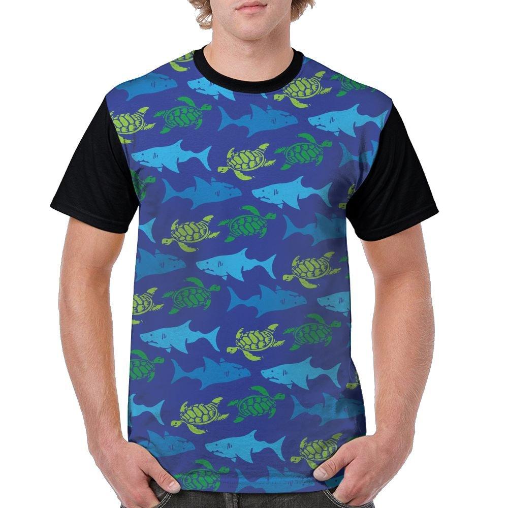 Turtle and Shark Men's Raglan Short Sleeve Tops T-Shirt Novelty Undershirts Baseball Tees