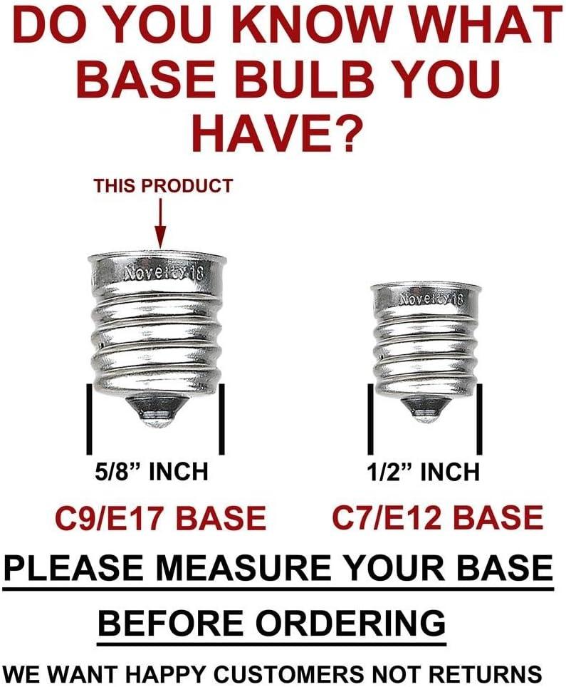 7 Watt Novelty Lights 25 Pack C9 Ceramic Outdoor String Light Christmas Replacement Bulbs E17//C9 Base Multi