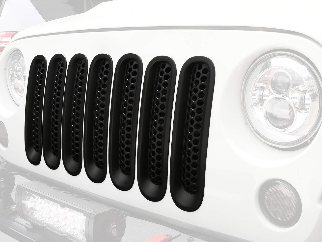 Hooke Road Matte Black JK Front Grill Mesh Inserts, Clip-in Deflector Guard for Jeep JK Wrangler & Unlimited 2007-2015