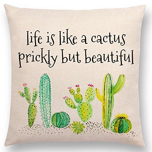 Aremazing Inspirational Quote Succulents Plants Cactus Cotton Linen Home Decor Pillowcase Throw Pillow Cushion Cover 18 x 18 Inches (Life is Like A Cactus Prickly But Beautiful)