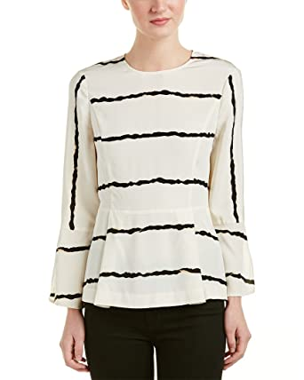6b7115da17cb0 Image Unavailable. Image not available for. Color  Derek Lam 10 Crosby  Striped Silk Peplum Top 2