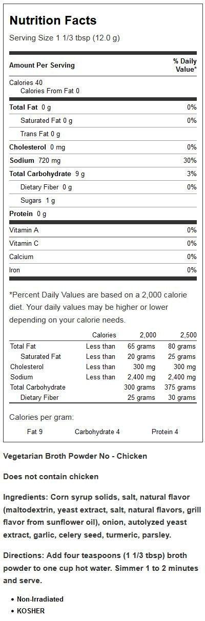 Vegetarian Broth Powder No-Chicken 1lb