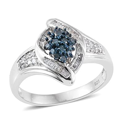 Blue Diamond, White Diamond Ring in Platinum Over Sterling Silver 0.330 Ct