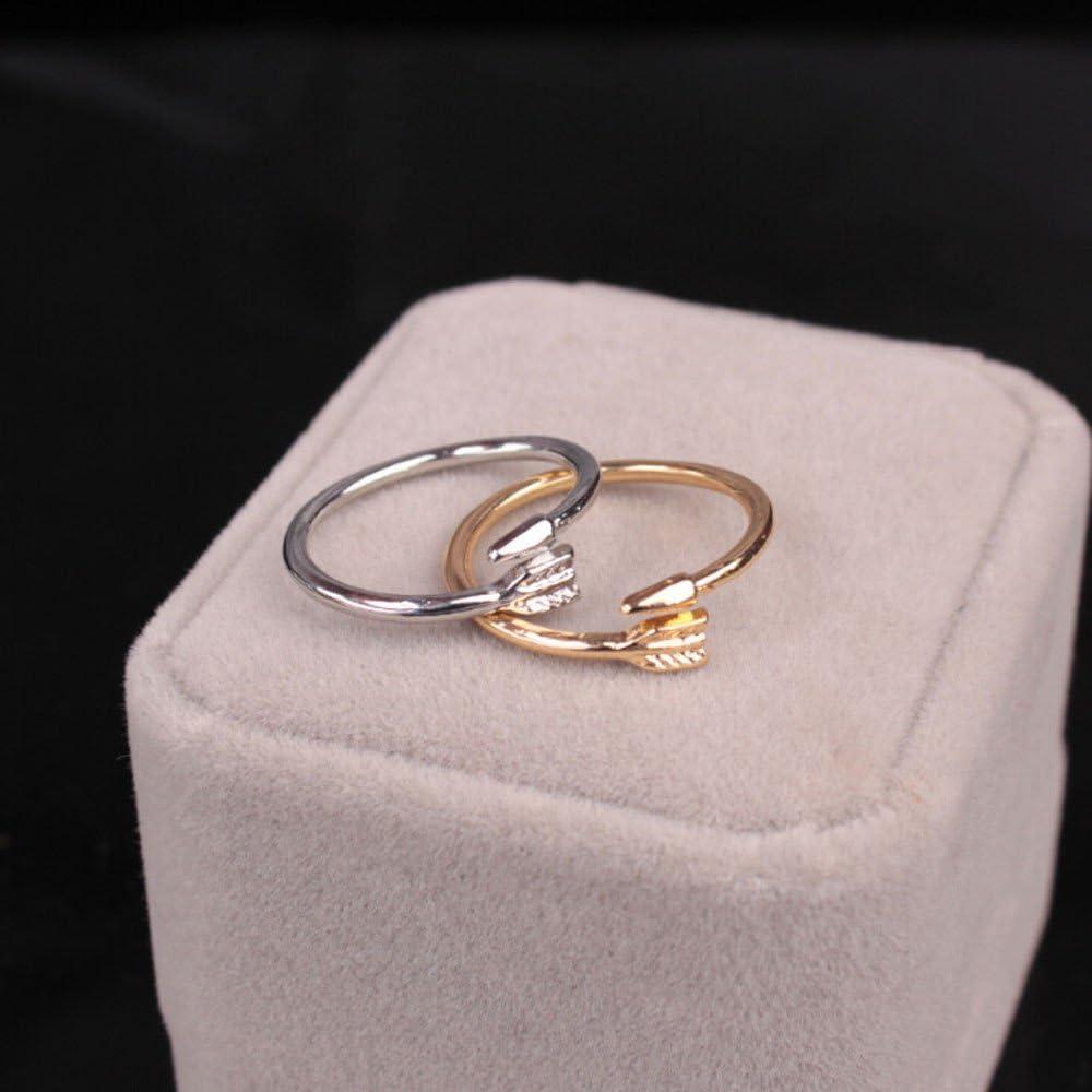 Sttech1 Geometric Arrow Sleek Minimalist Gold Silver Adjustable Commemorative Tail Alloy Ring