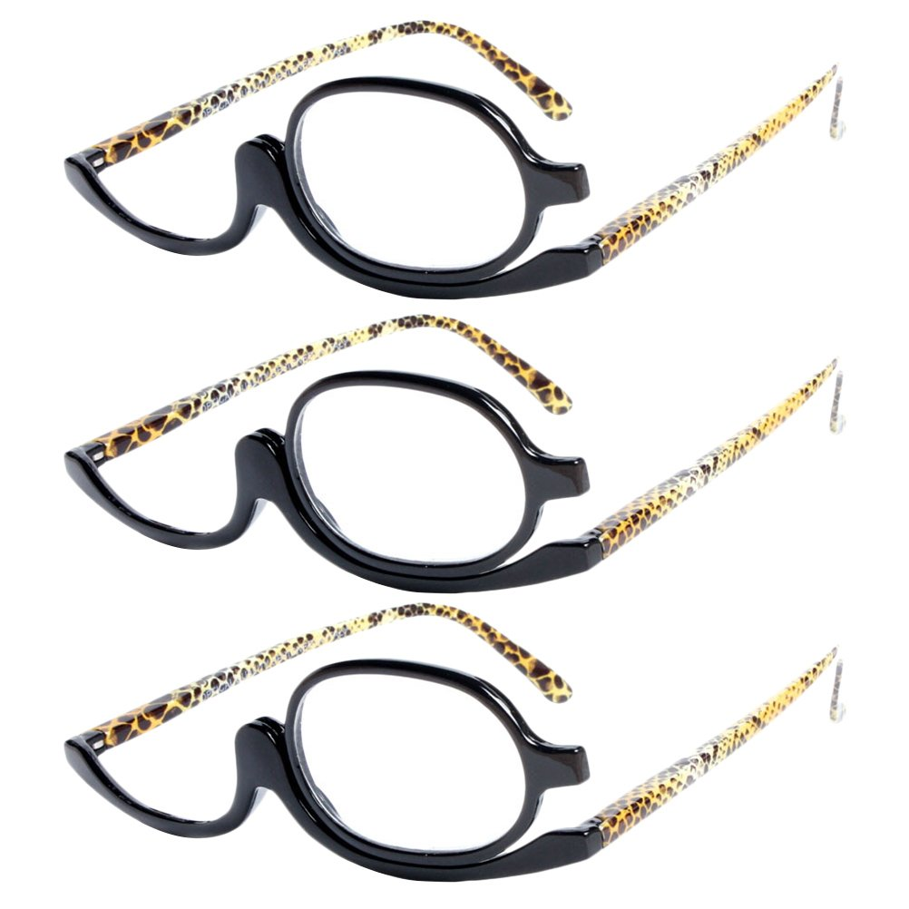 Zhhlinyuan 3 Pairs of Easy Makeup Mirror Glasses Organizer Unisex Reading Glasses