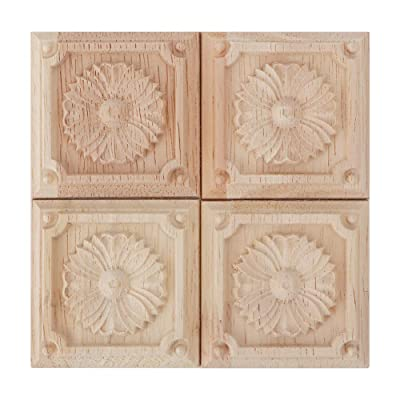 4Pcs Wooden Carved Onlay Applique, Wooden AppliquÃs for Wall Unpainted Door Cabinet Wardrobe Home Furniture Decor European Style Crafts 2.36x2.36inch: Baby