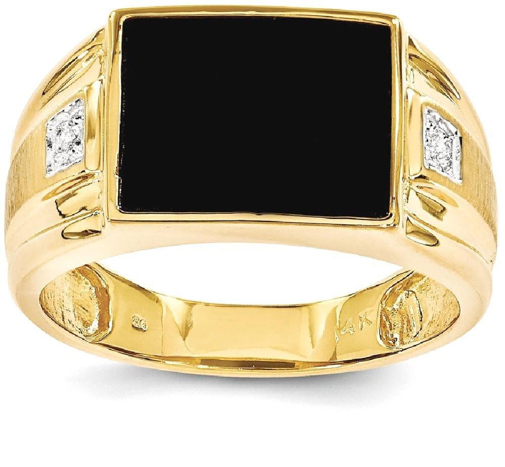 ICE CARATS 14k Yellow Gold Mens Black Onyx Diamond Band Ring Size 10.00 Man Fine Jewelry Dad Mens Gift Set