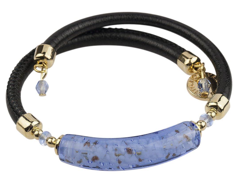 f2af08da47e Venetian Murano Glass Wrap Bracelet, 10 Inches, Blue Bead with Black Leather