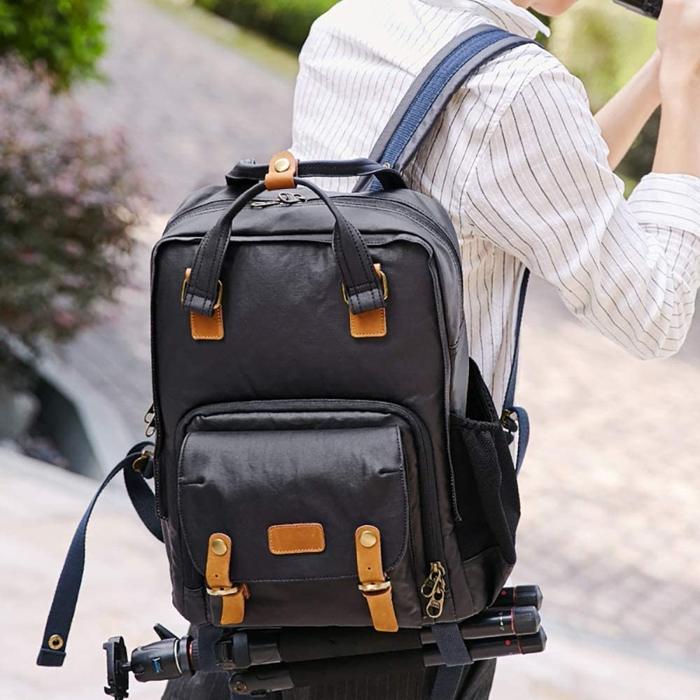 Men/'s Leather Canvas Backpack Mens Outdoor Waterproof Shoulder Bag SLR Digital Camera Backpack Bag Three Colors Optional For A Variety Of Outdoor Activities Convenient To Carry Daily Life Is Ideal Tr