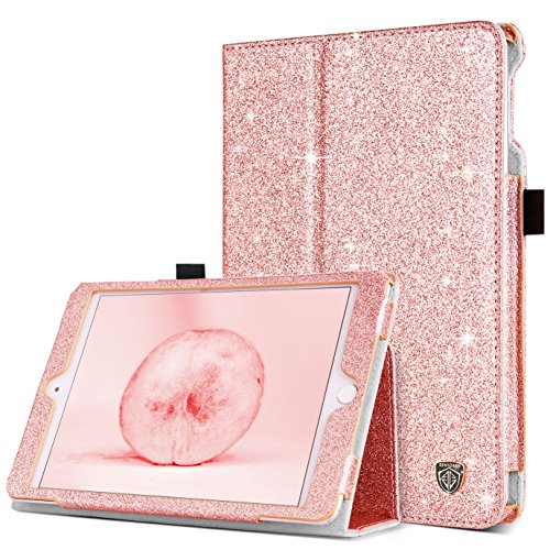 iPad Mini 4 Case, BENTOBEN Slim Lightweight Glitter Bling PU Leather Stand Smart Folio Case Girls Cute Cover with Auto Sleep/Wake Function for Apple iPad Mini 4 2015 Release (7.9 inch), Rose Gold