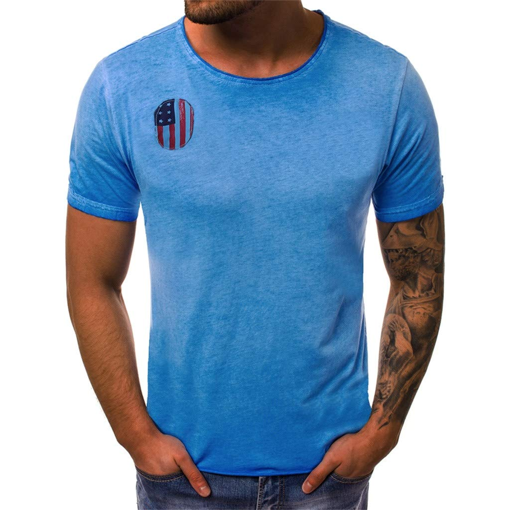YOMXL Men's Cotton T-Shirt Flag Striped Casual Tee Office Work Tee Tops Short Sleeve Shirt Blue by YOMXL