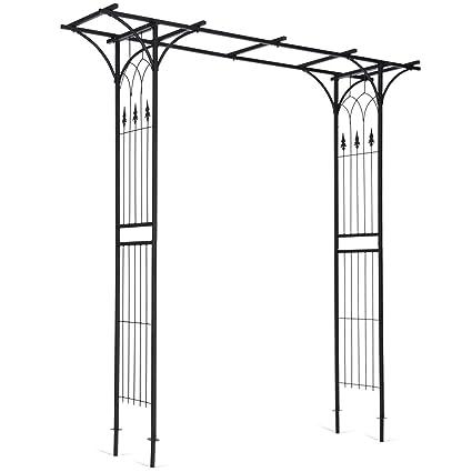 AyaMastro Black Metal Garden Arch Pergola Flowers Archway Climbing Plants  Trellis