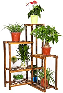 6 Tier Corner Plant Stand Shelf Indoor Wood Flower Pot Rack Patio Planter Shelf Outdoor Bonsai Displaying Shelves for Garden Yard