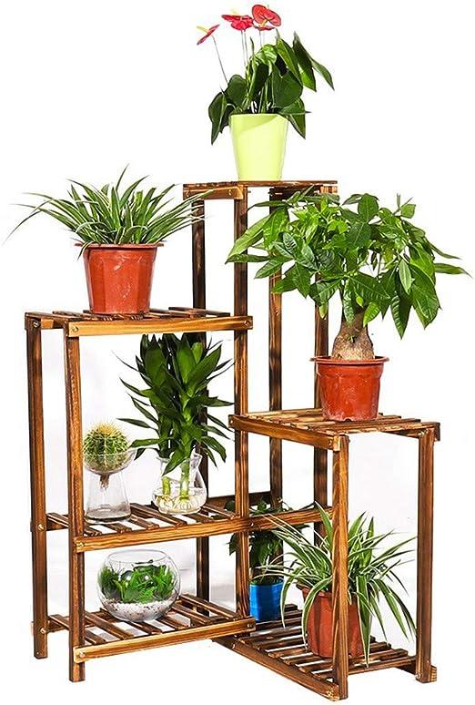 Estante de madera de pino para plantas, 6 niveles, para decoración del hogar, balcón, patio, jardín, patio: Amazon.es: Jardín