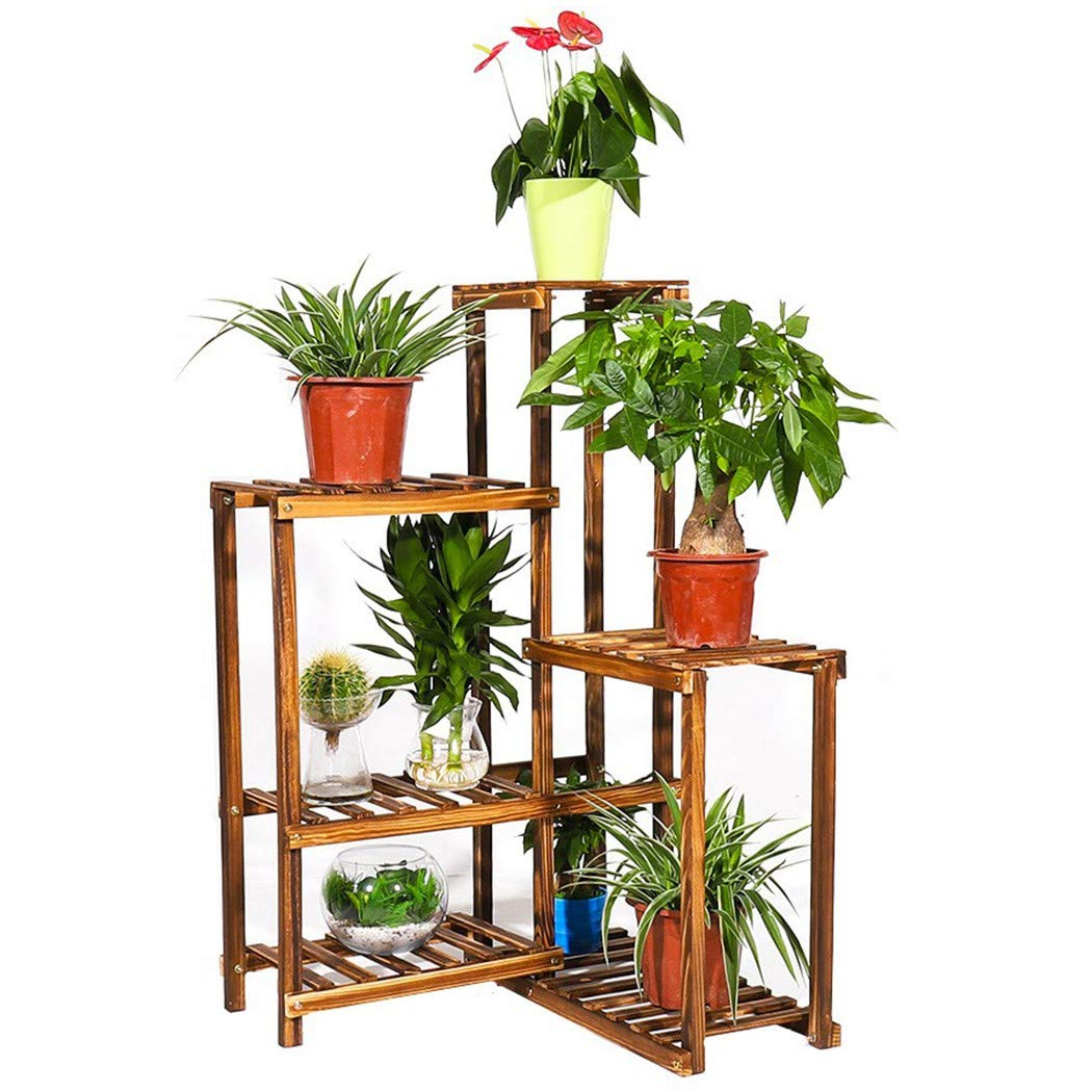 SONGMICS Bamboo Multi Storage Corner Shelf Flower Plant Stand Display Rack DIY Adjustable Shelving Unit for Balcony Bathroom Living Room Yard Garden Indoor Outdoor Brown UBCB92BR