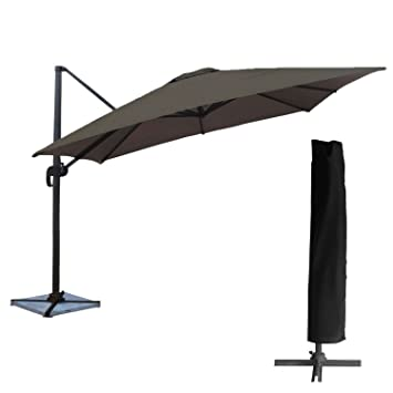 Happy Garden Pack Parasol Deporte Carre 3x3m Inclinable Gris Bache