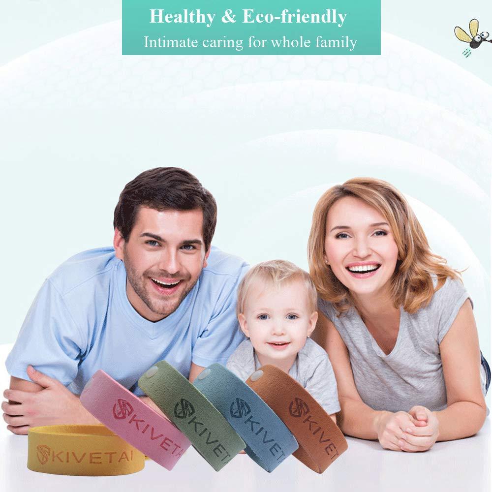 KIVETAI Pulsera Repelente de Mosquitos -12 Paquetes 100% Naturales Pulsera Antimosquitos Bandas Repelentes de Insectos Pulseras de Biaje Repelente no Tóxico para Niños y Adultos