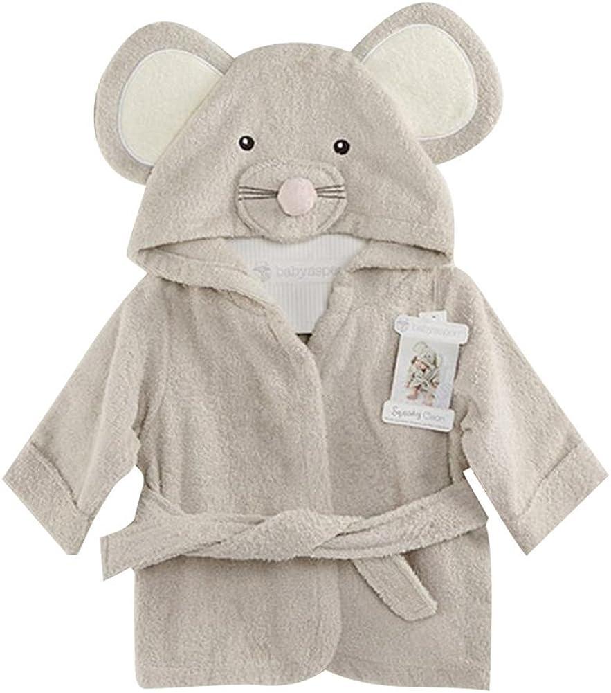 Fancyus Unisex ratón para niños de algodón para bebé con Capucha Albornoz de Toalla de baño, Gris