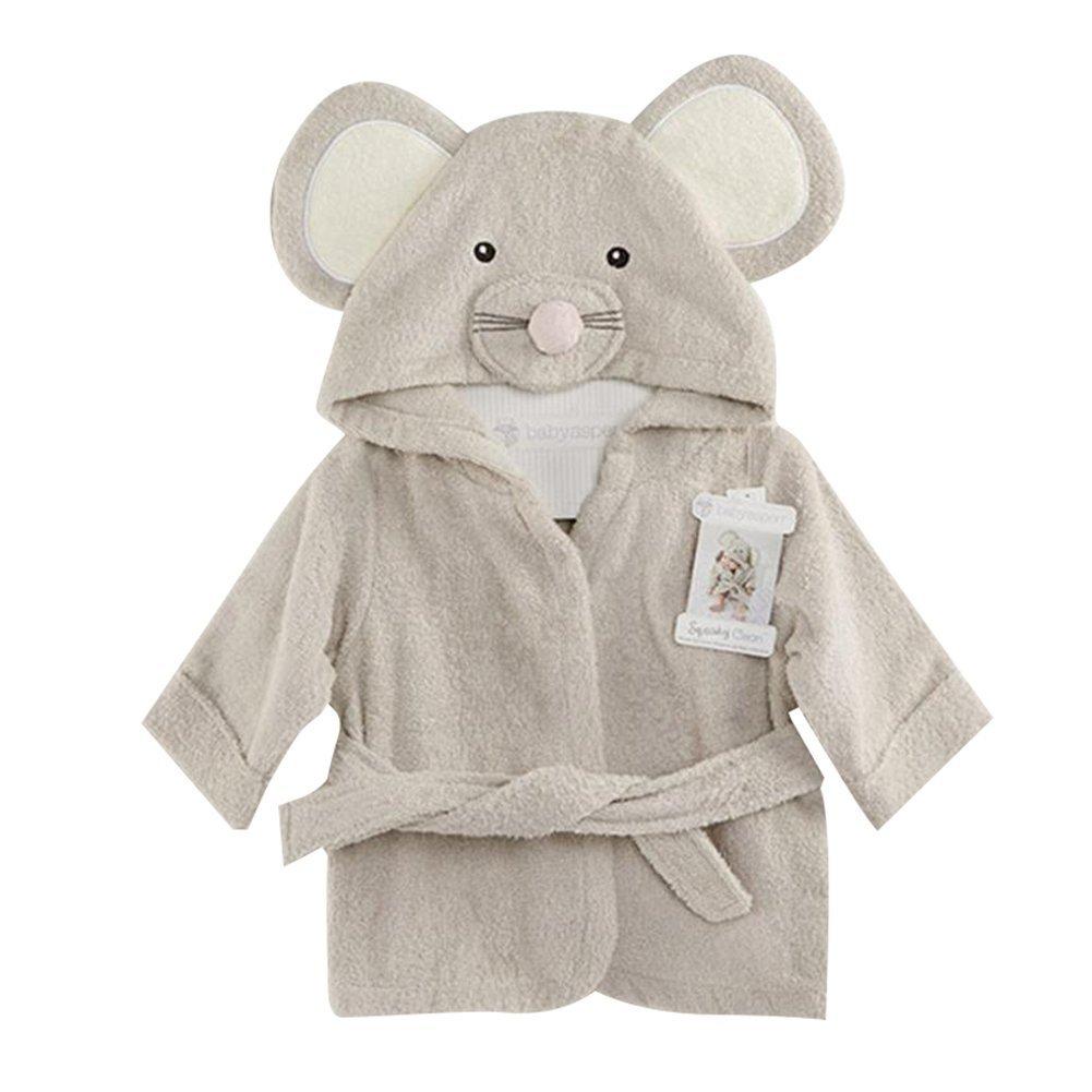 Fancyus Unisex Infant Baby Cotton Mouse Hooded Bath Towel Bathrobe, Grey