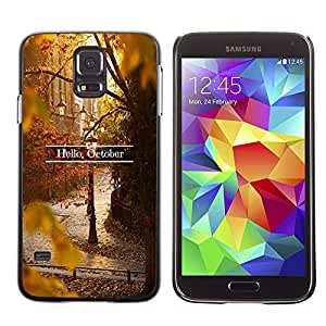 LECELL--Funda protectora / Cubierta / Piel For Samsung Galaxy S5 SM-G900 -- Sign Leaves Fall Autumn Nature --