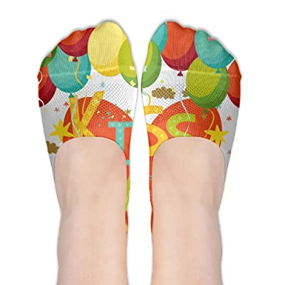 Kiss Me With Air Ballon DIY Printed Pattern Soft Low Cut Socks No-show Liner Invisible Polyester Cotton Sock For Girls (One Pair)