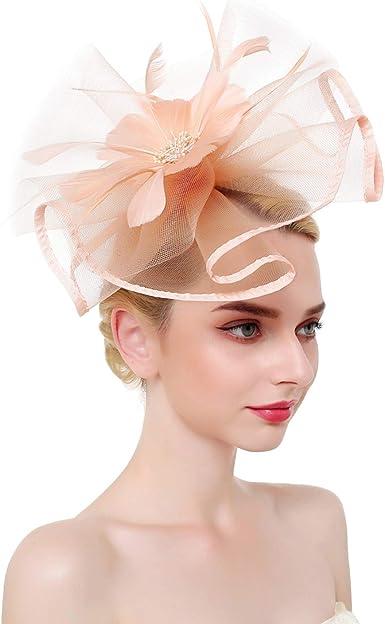 Fascinators Hat Flower Mesh Ribbons Feathers on a Headband Tea Party Headwear
