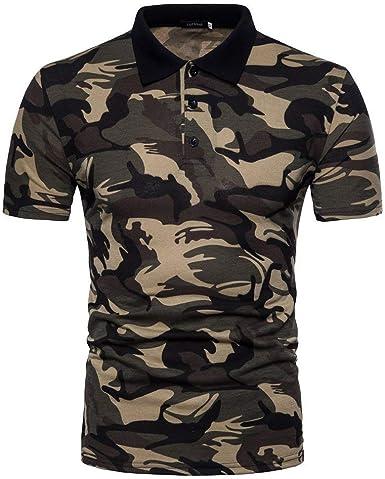 Camisa De Polo De Los Hombres De Verano Casual Camuflaje Cuello Polo De Manga Corta Camiseta Camisa De Polo Blusa Básica De La Manera Militar Tapas: Amazon.es: Ropa y accesorios