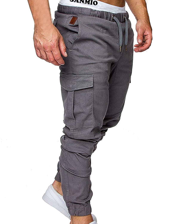 SANMIO Men's Casual Trousers, Mens Pants with Multi-Pocket Slim Sports Jeans for Autumn Winter Elastic Waistband Cotton Blend