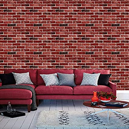 Eurotex 3D Brick Pattern Vinyl Coated Wallpaper (50.01 cm x 10 cm x 10 cm, Red)