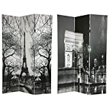 Oriental Furniture 6 ft. Tall Double Sided Paris Room Divider - Eiffel Tower/Arc de Triomphe