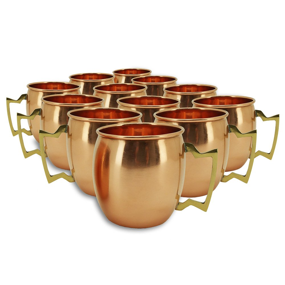 Set of 12 Modern Home Authentic 100% Solid Copper Moscow Mule Mug - Handmade in India