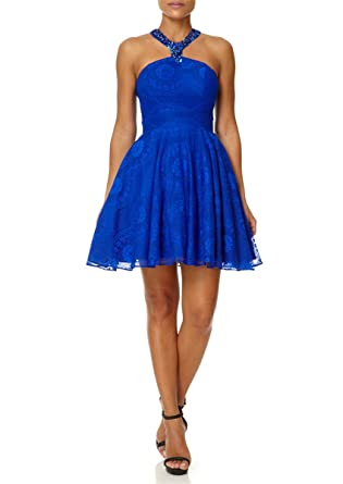 Forever Unique - TOPAZ - Sax Blue Embellished Lace Prom Dress 6