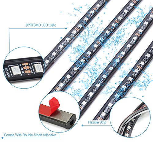 AMBOTHER-4Pcs-Car-LED-Neon-Undercar-Glow-light-Underglow-Atmosphere-Decorative-Bar-Lights-Kit-Strip-5050-SMD-Underbody-System-Waterproof-Tube-7-Color-with-Sound-Active-and-Wireless-Remote-Control