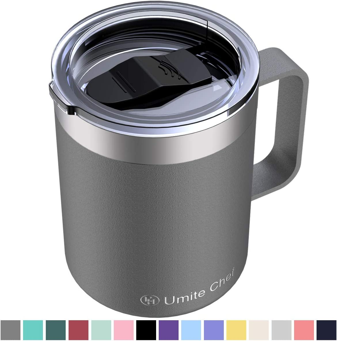 Umite Chef Stainless Steel Insulated Coffee Mug Tumbler with Handle, 12 oz Double Wall Vacuum Tumbler Cup with Lid Insulated Camping Tea Flask for Hot & Cold Drinks(Gray)