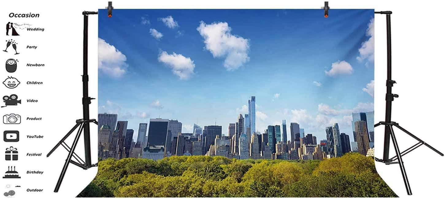City 15x10 FT Vinyl Photo Backdrops,Manhattan Skyline with Central Park in New York City Midtown High Rise Buildings Background for Child Baby Shower Photo Studio Prop Photobooth Photoshoot