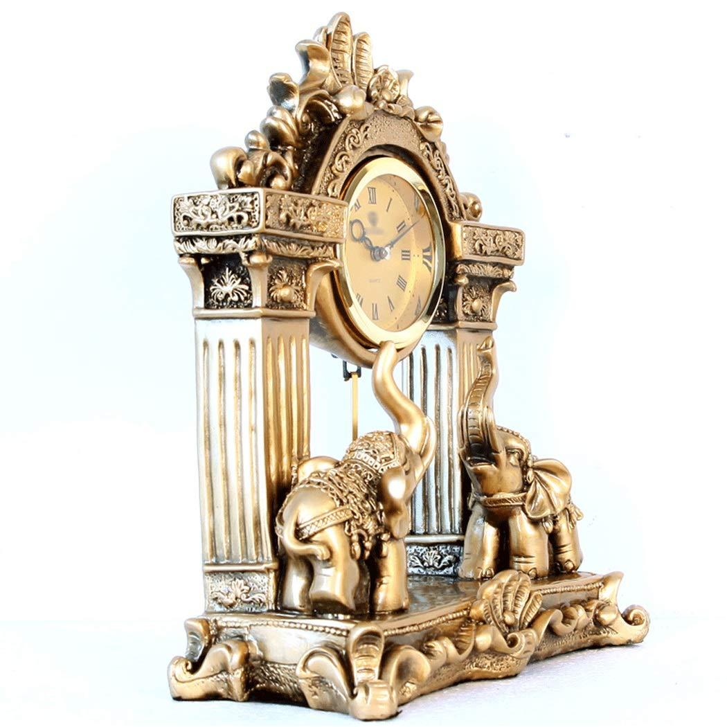 HONGNA European Mute Resin Clock Clock Lucky Town House Elephant Pendulum Clock Retro Quartz Table Clock Living Room Creative Desktop Decoration Clock (Color : B) by HONGNA (Image #8)