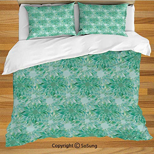 (Turquoise Decor King Size Bedding Duvet Cover Set,Floral Pattern With Beryl Crystal Guilloche Flowers Carving Art Decorating Image Print Decorative 3 Piece Bedding Set with 2 Pillow Shams,Green)