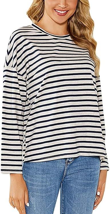 beautyjourney Camisa de Manga Larga a Rayas Blusa con Estampado de Rayas Sueltas para Mujer Sudaderas Sueltas con Cuello Redondo y Manga Larga Camisa básica Top: Amazon.es: Ropa y accesorios