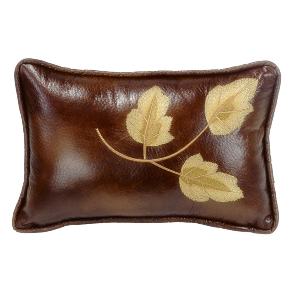 HiEnd Accents Highland Lodge Embroidery Leaf Pillow, 12x19